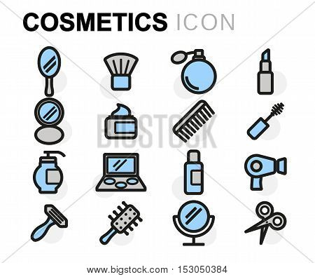 Vector flat line cosmetics icons set on white background