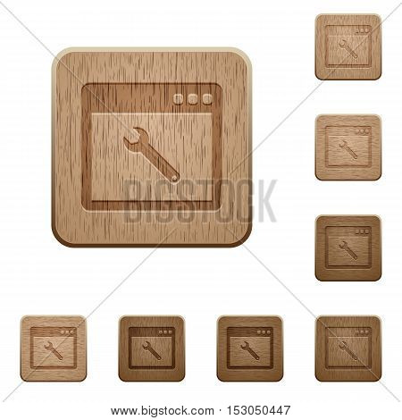 Application maintenance icons in carved wooden button styles