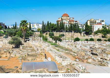 Ruins and part of old wall in ancient Kerameikos district in Athens, Greece