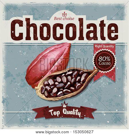 Vector illustration cocoa bean on grunge background. Illustration in retro style