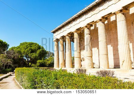 Temple of Hephaestus near Acropolis in Athens, Greece