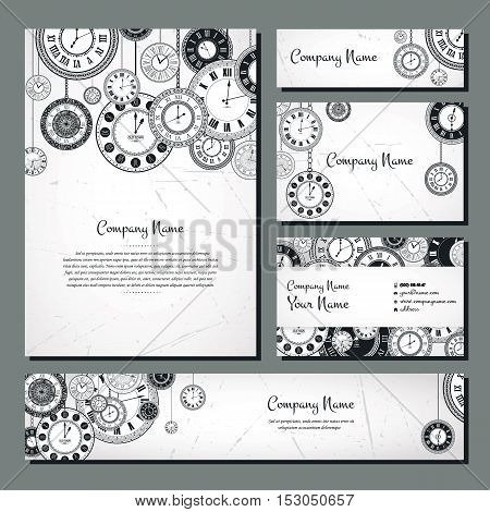 Vintage clock vector banner background set. Retro antique backrop for business. Classic watch dial cover illustration. Elegant invitation, postcard, paper design. Traditional card. Victorian style