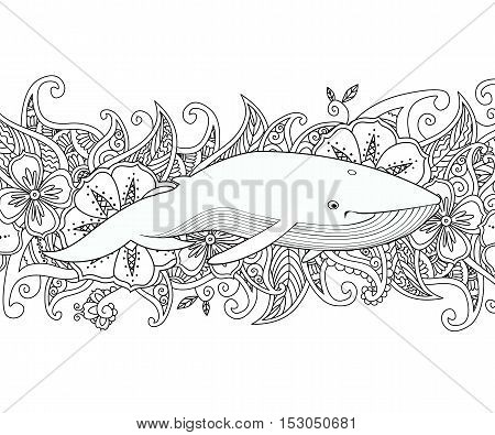 Coloring page with whale in the sea on flower border background. Coloring book for adult and children. Editable vector illustration.