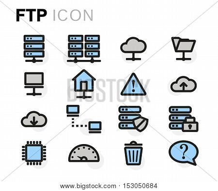 Vector flat line ftp icons set on white background