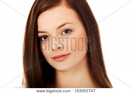 Smiling beautiful brunette young woman