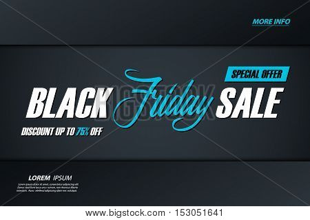 Black Friday Sale. Special offer banner with handwritten element, discount up to 75% off. Banner for business, promotion and advertising. Vector illustration.