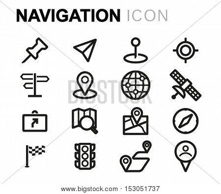 Vector black line navigation icons set on white background