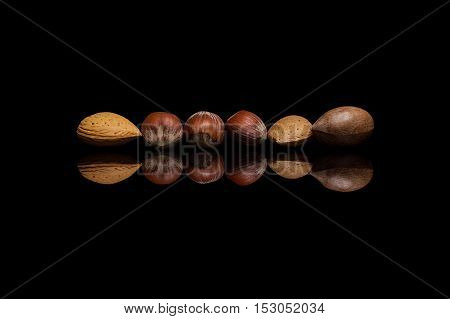 Mix of six shelled nuts two almonds one pecan and three hazelnuts isolated on black reflective background
