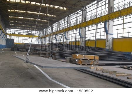 Steel Sheet Prepared To Be Cut In A Factory