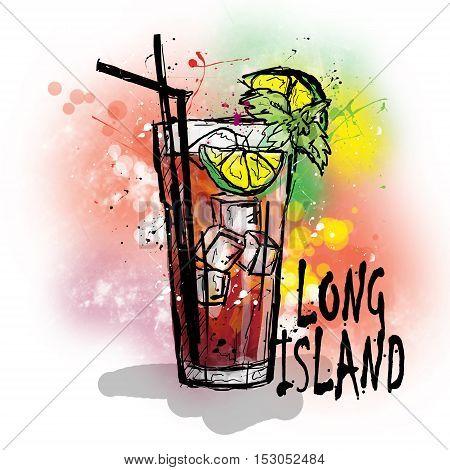 Hand drawn illustration of cocktail. LONG ISLAND