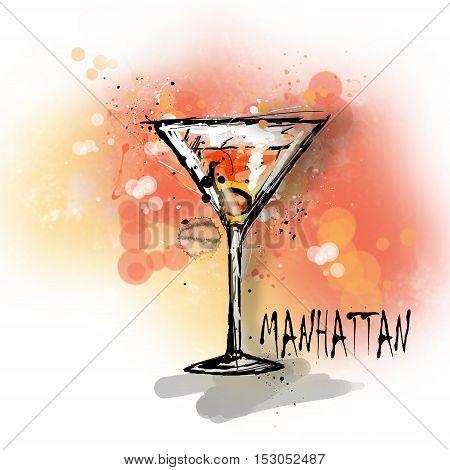 Hand drawn illustration of cocktail. MANHATTAN cocktail.