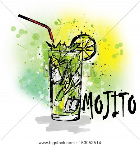 Hand drawn illustration of cocktail. MOJITO COCKTAIL.