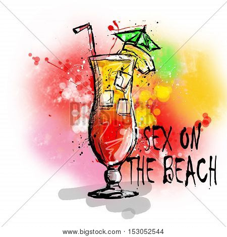 Hand drawn illustration of cocktail. SEX ON THE BEACH.