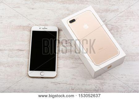 BURGAS BULGARIA - OCTOBER 22 2016: New Apple iPhone 7 Plus Gold on white background illustrative editorial.