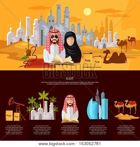 Tradition and culture in muslim countries banner oil industry dubai landscape sheikh in desert vector illustration