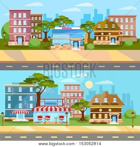 City background cityscape banner town landscape street panoramic vector illustration