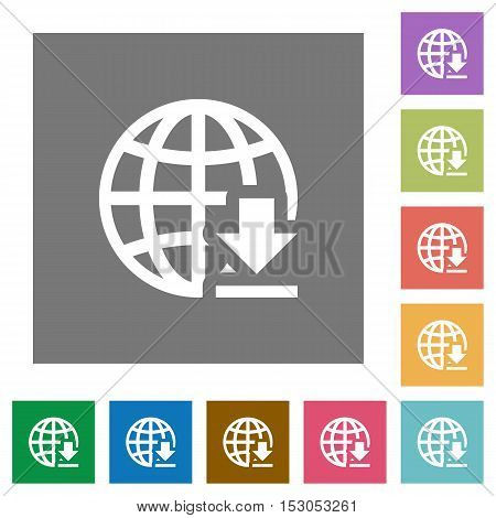 Download from internet flat icons on simple color square background.