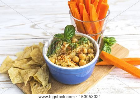 Fresh Homemade Organic Hummus With Pita Cheaps And Basil