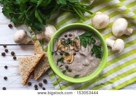 Mushroom Puree Soup With Allspice, Parsley, Champignons And Toasts