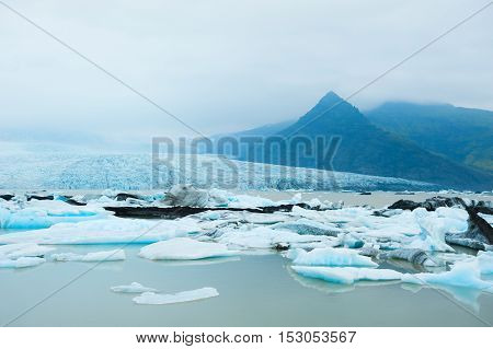 Icebergs In The Glacial Lake In Iceland