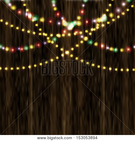 Bright festive lights in the background of varnished wooden surface. Vector illustration