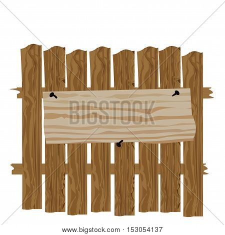 A fence made of wood. Classified ads and commercials. Vector illustration