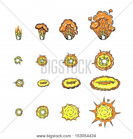 Cartoon doodle set with explosion effects of different size and shape for flash animation isolated on crumpled paper background vector illustration