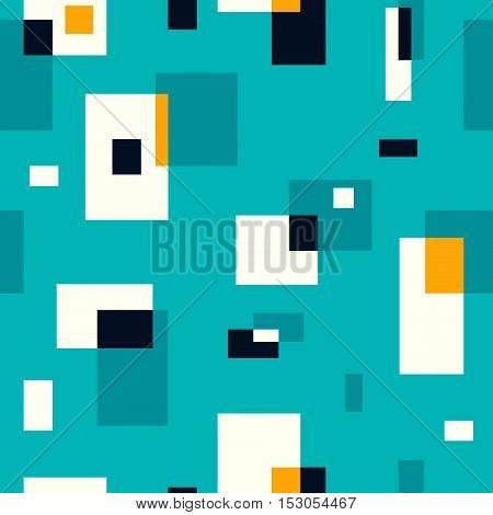 Retro seamless pattern on turquoise background. Vector illustration. Abstract wallpaper. Colorful geometric pattern with rectangles