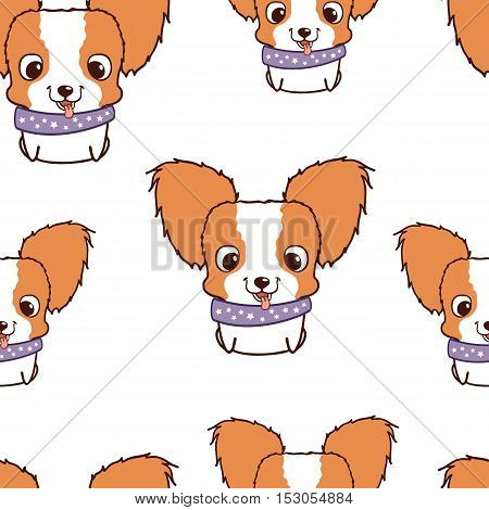 Seamless pattern with papillon puppies. Colorful vector illustration. Wallpaper with cartoon dog. Cute puppies on white background