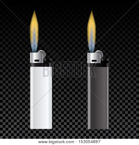 Template for advertising and corporate identity. White and black lighter. Burning fire. Vector illustration