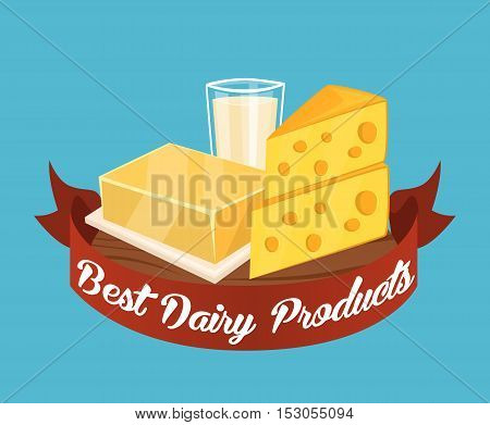 Best dairy products banner with dairy composition and red ribbon with text on blue background, vector illustration. Best dairy concept with glass of milk, butter and cheese. Organic farming