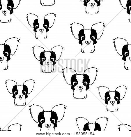 Seamless pattern with papillon puppies. Black and white vector illustration. Wallpaper with cartoon dog with funny muzzle
