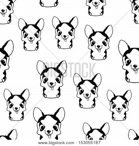 Seamless pattern with siberian husky puppies. Black and white vector illustration. Wallpaper with sweet little cartoon dog