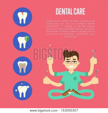 Male cartoon dentist in medical uniform with many hands holding dentist instruments on red background with teeth round icons, vector illustration. Tooth care and restoration, treatment and hygiene