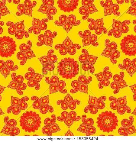 Bright ethnic Indian decorative pattern. Block printing effect.
