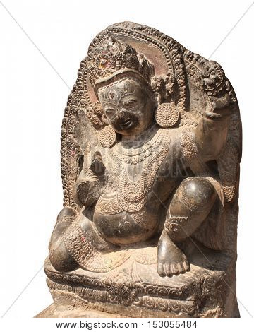Stone sculptures of dancing hindu god, Patan, Kathmandu valley, Nepal. Unesco World Heritage Site. Isolated on white background