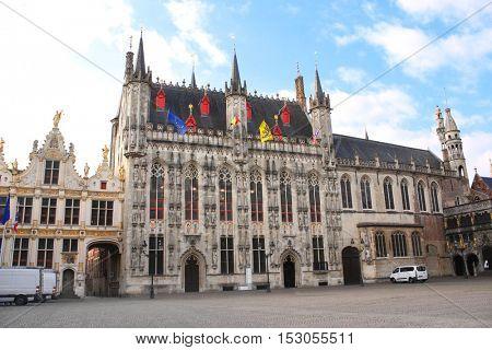 Historic medieval buildings - Tower hall (Stadhuis van Brugge) in Bruges, Belgium