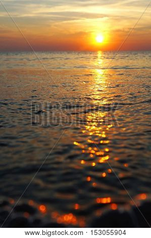 red red beautiful sea sunset in summer