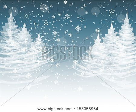 Christmas, New Year. The stylized image of spruce trees on a winter day. Snow in winter forest. Snowflakes. Vector illustration