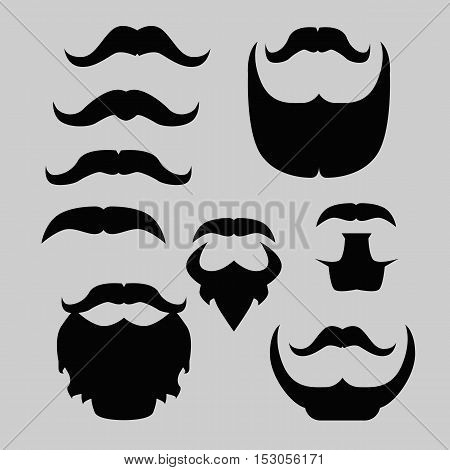 Props set. Mustache and beard isolated vector
