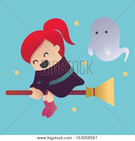 cartoon  Witch Halloween eps . 10 Illustration