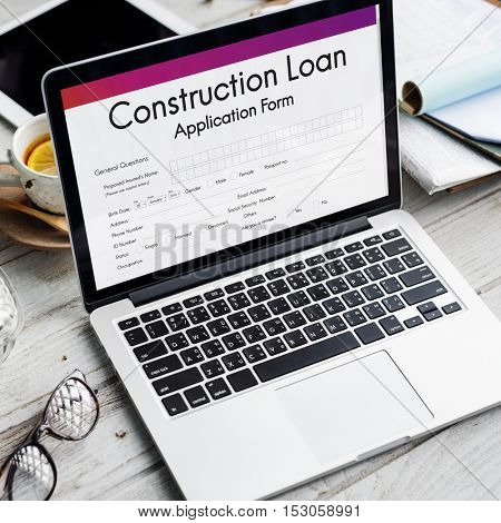 Construction Loan Application Form Concept