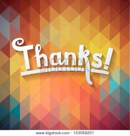 Thank you card on colorful geometric background. Gratitude card for different occasions.