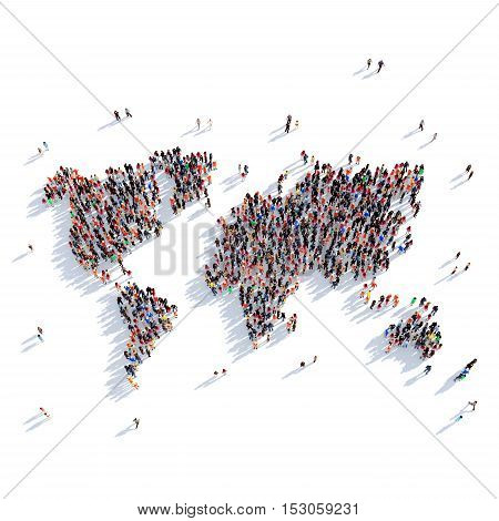 Large and creative group of people gathered together in the form of a map World, a map of the world. 3D illustration, isolated against a white background. 3D-rendering.