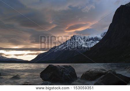 Patagonian sunset over lago nordenskjöld, Torres del Paine