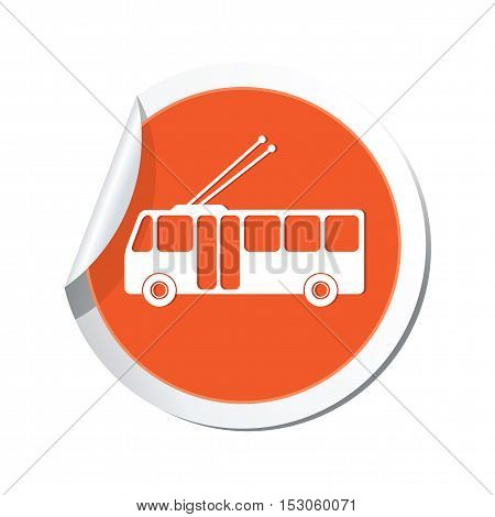 Trolleybus icon on the sticker. Vector illustration