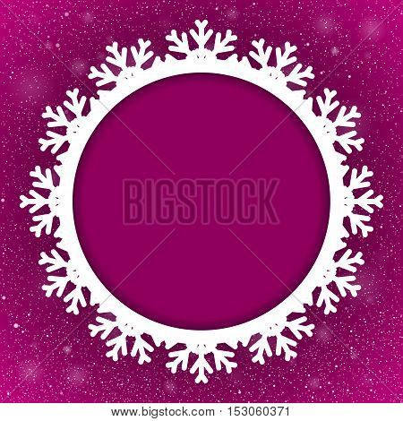 Vector Circle Frame Snowflake. Falling Snow. Purple Winter Frame Background. Winter Snowfall. Holidays New Year and Merry Christmas.