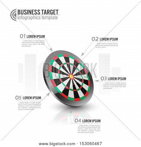 vector illustration of Business target marketing concept.archery target Infographics template.