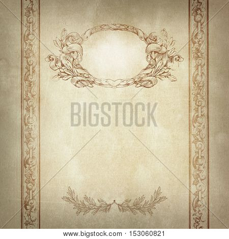 Aged yellowed paper background with old-fashioned framedecorative border and laurel branch.