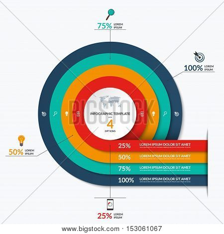 Circle infographic template. Vector banner with 4 options- 25, 50, 75, 100 percent. Can be used for diagram, graph, chart, report, data visualization, presentation, web design